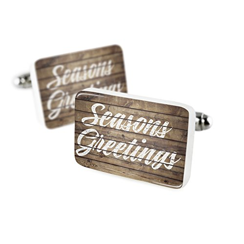 NEONBLOND Cufflinks Painted Wood Seasons Greetings Porcelain Ceramic (Porcelain Greetings)