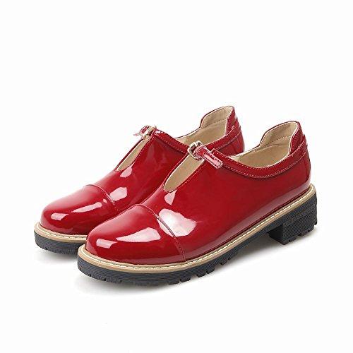 Tallone Delle Donne Latasa Chiusura Scarpe Tacco Grosso Rosso