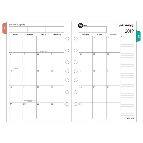 AT-A-GLANCE 2019 Monthly Planner Refill, 5-1/2