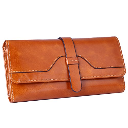 Dante Women RFID Blocking Wallet, Ladies Clutch Wallet, Shield Against Identity Theft (Camel)