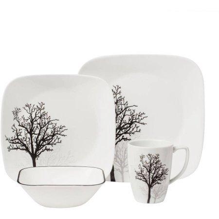 Corelle Squares Timber Shadows 16-Piece Dinnerware Set