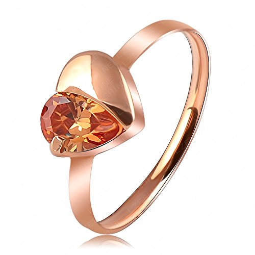 Evertrust (TM)Hot Selling Love Ring Simple Rose Gold Plated Austrian Crystal Heart Ring SWA Elements Wedding Rings Ri-HQ1080-A-2 by EverTrust