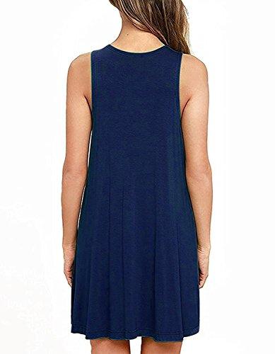 rservoir au du avec sans Tank Poches du Marin Niveau Casual des Tunic Your Dress Manches Genou Robes Cozy Bleu Fq0RwqO