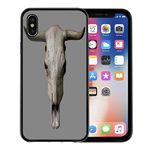 Semtomn Phone Case for Apple iPhone Xs case,Bull Cow Skull on Gray Head Animal Bone Cattle Old for iPhone X Case,Rubber Border Protective Case,Black