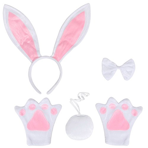Rabbit Paws Costume (ACTLATI 5 Pcs/Set Cute Headband Bowtie Tail Paws Bunny Cosplay Party Rabbit Ears Child Kids Fancy Dress Kit White)