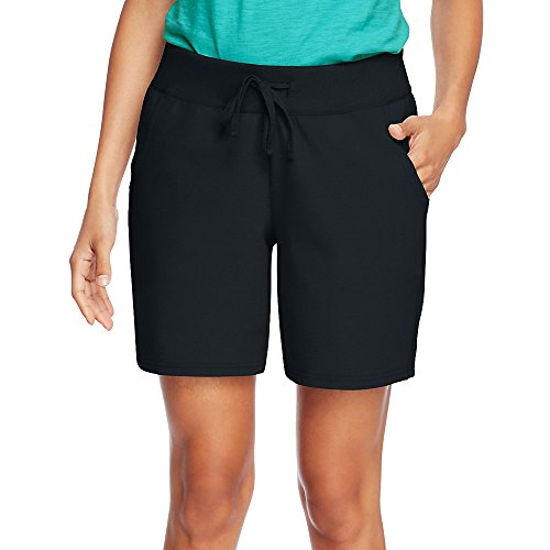 - Hanes by Womens Jersey Pocket Short O9264_Black_L