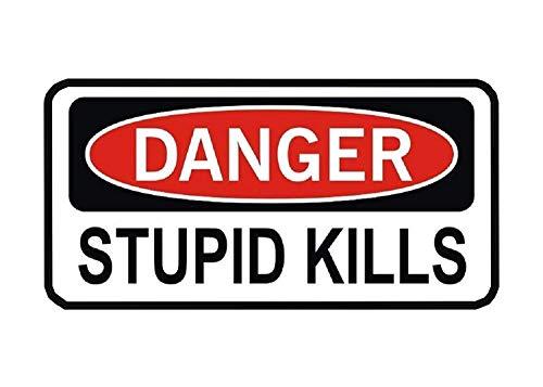 3 Pack Danger Stupid Kills Funny Work Hard Hat Biker Helmet Stickers Decals Toolbox