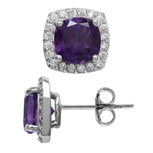 Amethyst Cushion Shape - 2.82ct. 7MM Natural Cushion Shape African Amethyst 925 Sterling Silver Halo Stud Earrings