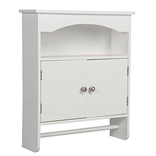 Cupboard Pine Wall (go2buy White Wood Bathroom Wall Cabinet Toilet Medicine Storage Organiser with Bar Cupboard Unit)