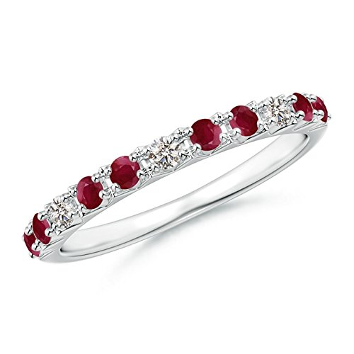Round Natural Ruby and Diamond Half Eternity Wedding Ring for Women in Platinum (2mm Ruby)