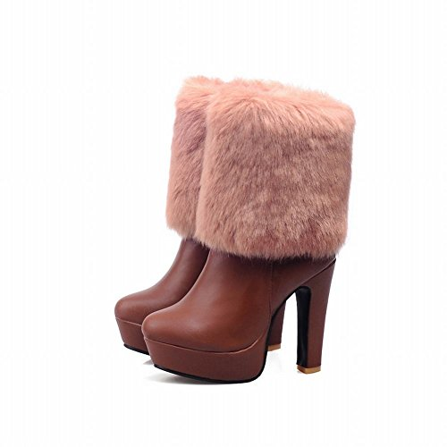 Latasa Womens Fashion Pu & Faux Fur Platform High Heel Ankle High Cold Weather Winter Boots with Zipper Brown FYtCdEFpnV