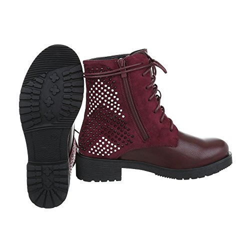 Women's Boots Block Heel Lace-Up Ankle Boots at Ital-Design Bordeaux 3pKwG1te