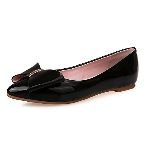 Amoonyfashion Solid Dames Pu Zonder Hiel Spitse Gesloten Teen Pull-on Flats-schoenen Zwart