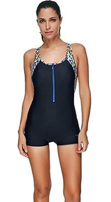 Yateen Women's Boy-Leg One Piece Swimsuit Sports Bathing Suit