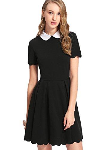 Floerns Women's Casual Contrast Peter Pan Collar Scalloped Dress Black M