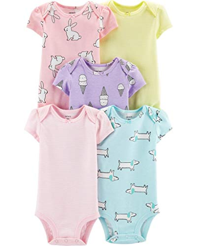 - Carter's Baby Girls' 5-Pack Color Trim Bodysuits 12 Months