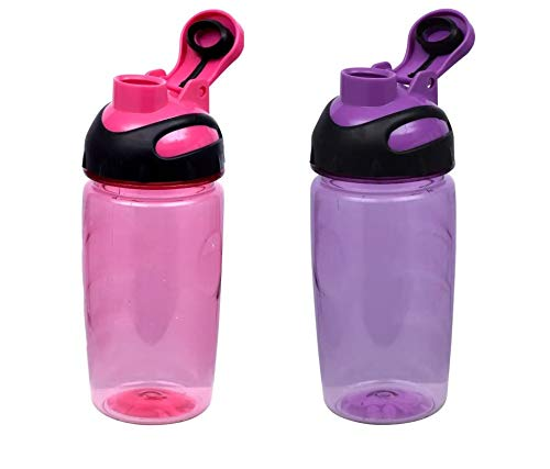 Translucent Plastic Water Bottles with Screw On Flip-Top Snap Spouts and Finger Grips - Perfect for Sports, Outdoors, Travel 14 Ounces (Set of 2 - Pink and - Ounce 14 Translucent Cup