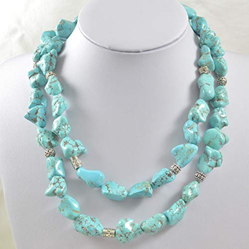 Multi-strand Western Style Necklace In Turquoise with Silver Tone ()