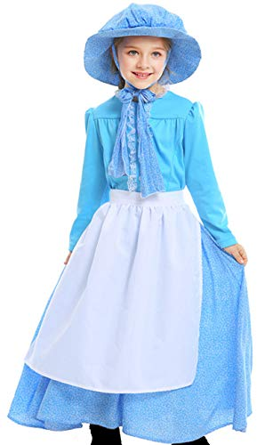 Dress Country Peasant Girl - COSLAND Country Girls' Victorian Costume Dress (Dress, X-Large)