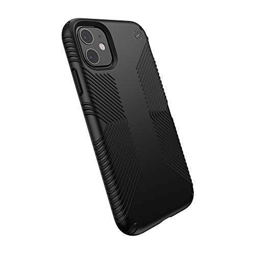 Speck Products Compatible Phone Case for Apple iPhone 11, Presidio Grip Case, Black/Black