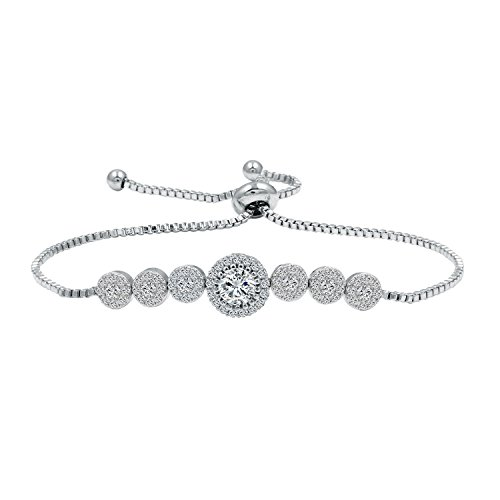 (WeimanJewelry Round Cut CZ Cubic Zirconia Crystal Bridal Adjustable Chain Bracelet for Women (Silver))