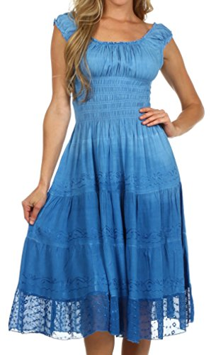 Sakkas 6741 Spring Maiden Ombre Peasant Dress - Wildflower Blue - One Size