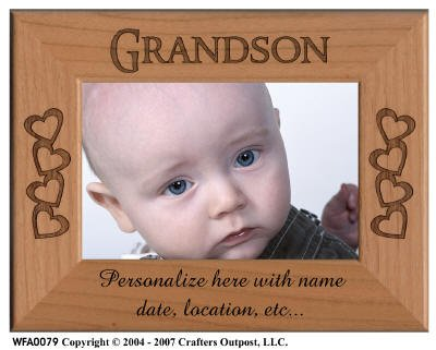 Amazon.com: Grandson with Hearts Personalized Alder Wood Photo Frame ...