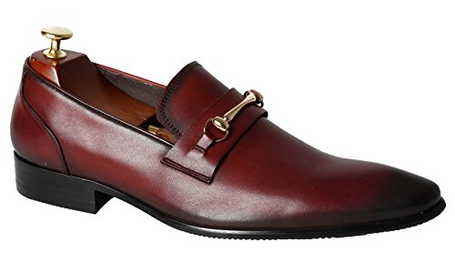 Leather Formal Penny Red Shoes Dress Toe Venetian by Pointed Men Santimon Style Loafers for Slip On Y8TwZPn