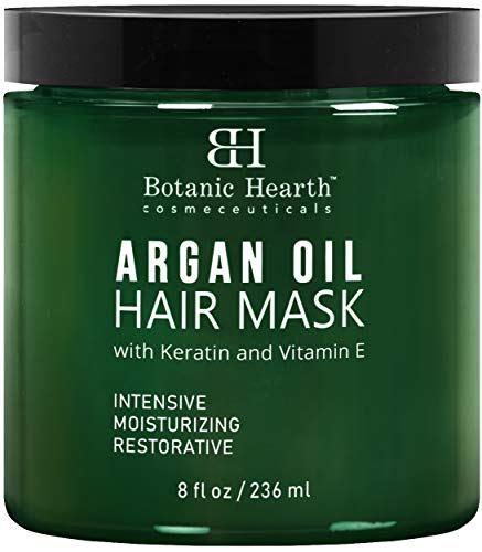 Botanic Hearth Argan Oil Hair Mask - Deep Conditioning Keratin Hair Treatment with Vitamin E - Moisturizing and Restorative, 8 fl oz