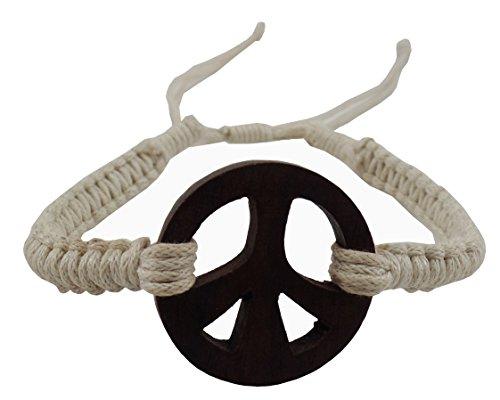 - Exotic & Trendy Jewelry, Books and More Peace Bracelet-Wooden Peace Sign Bracelet-Hemp Bracelet -Peace Symbol Bracelet-Peace Pendant Bracelet-Hippie Bracelet