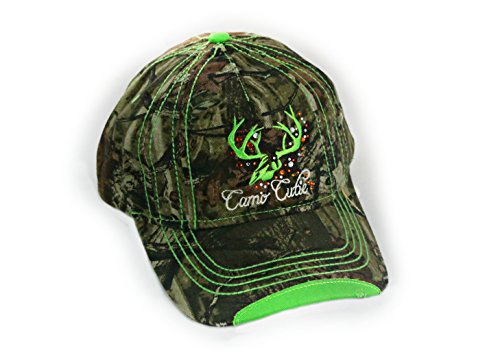 Women Mossy Oak Camo Cap with Green Trim and Rhinestone Camo Cutie Cap (Cutie Rhinestone)