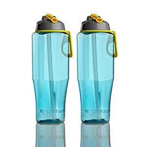 Big 36oz. Water Bottle with Leak Proof Flip-Top Nozzle (2-Pack)