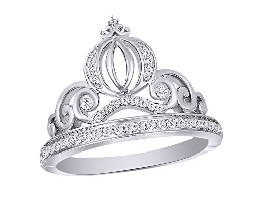 Wishrocks Round Cut Natural Diamond Cinderella Carriage Ring 14K White Gold Over Sterling Silver (1/6 Cttw)