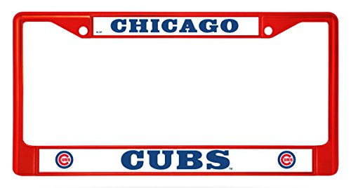 Rico Industries Chicago Cubs RED Bold Chrome Frame Metal License Plate Tag Cover Baseball