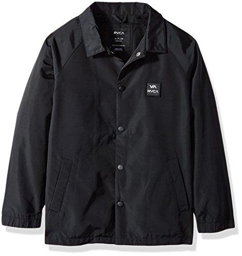 RVCA Boys' Big VA All The Way Coaches Jacket, Black, M