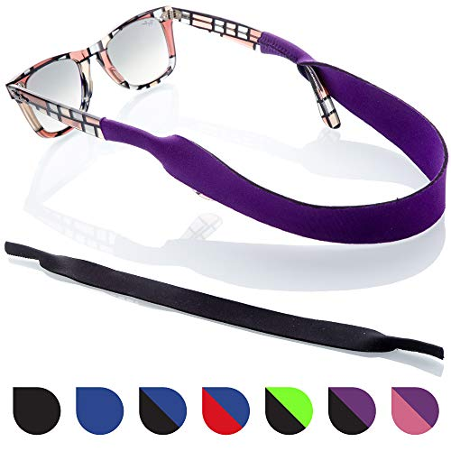 Glasses and Sunglasses Active Strap - 2 Pack | Anti-Slip and Fast Drying Sport Glasses Strap | Colors (Purple + Black)