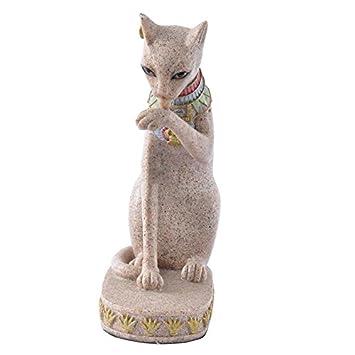 Jweal Figura Decorativa de Gato Egipcio para Decoración del hogar, Diseño de Piedra de Arena