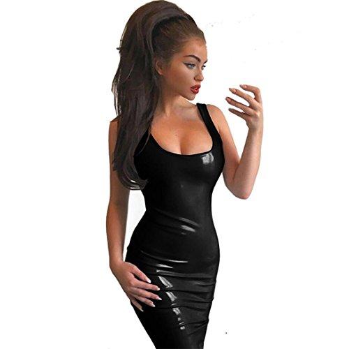 Zipper Femmes Club Crmonie Noir Sexy Fitness Sans Courte Bustier Cuir en Cocktail Bodycon Beikoard Robe Manches Robe Piliang Mini Robe Mode Latex Cuir EgqTw70
