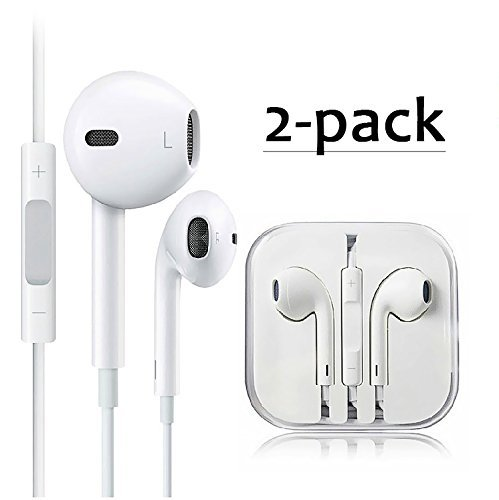 2-PACK Premium Earphones/Earbuds/Headphones with Stereo Mic&Remote Control for iPhone iPad iPod Samsung Galaxy and More Android Smartphones Compatible With 3.5 mm Headphone WHITE
