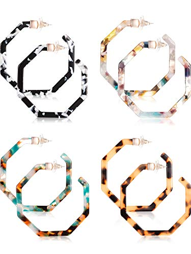 (Jetec Acrylic Resin Earrings for Women Tortoise Shell Hoop Earring Mottled Bohemian Drop Dangle Statement Fashion Round Circle Lightweight (Style D))