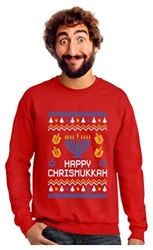 Happy Chrismukkah Xmas Hanukkah Ugly Christmas Sweatshirt Small Red (Chanukah Christmas)
