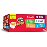 Pringles Snack Stacks Potato Crisps Chips, Flavored Variety Pack, Original, Sour Cream and Onion, Cheddar Cheese, BBQ, Pizza, Cheddar and Sour Cream, 19.5 oz (27 Cups)