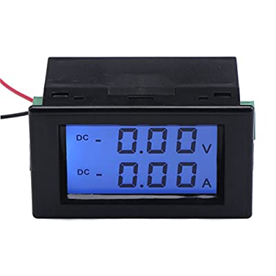 Dual Display DC Digital Multimeter Voltage Ampere Meter LCD Digital Display Voltmeter Current Meter with Shunt Volt Meter DC0-199.9V Amp Meter 0-10.0A for Battery Chargers Electric Vehicles