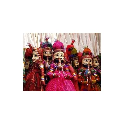 Kumkum Fashions Handmade Kathputli Bride Groom Couple Set, Wooden Faces Dolls Wedding Decor Indian Puppets Available in Assorted Colors Traditional Rajasthani Puppets Pushkar Rajasthan: Home & Kitchen