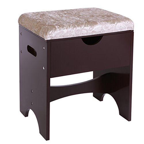 BEWISHOME Vanity Bench Piano Seat Makeup Stool with Upholstered Seat and Storage, Brown FSD01Z