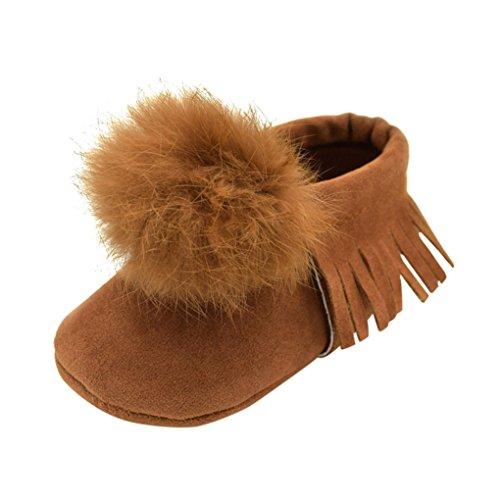 Vovotrade Ball Top Baby Kleinkinder Fransen Soft Schuhe (Size:6-9 Monate, Schwarz) Braun