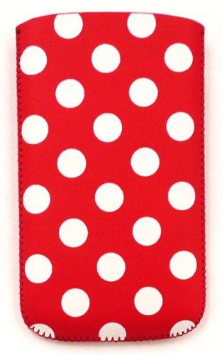 Emartbuy® Apple Iphone 5 5s Polka Dots Rot / Weiß Pu Leather Pouch / Case / Sleeve / Holder (Xxl) Mit Pull Tab Mechanismus Und Lcd Displayschutzfolie