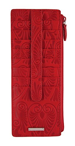 - Lodis Denia Cit Card Case with Zipper Pocket (Red, One Size)