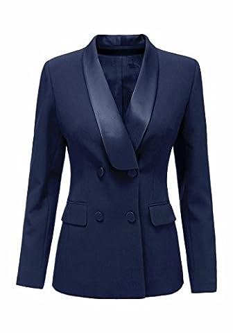 LookbookStore Women's Navy Blue Casual Lapel Double Breasted Long Sleeve Pocket Work Blazer Jacket Coat XL(US - Breasted Navy Blazer