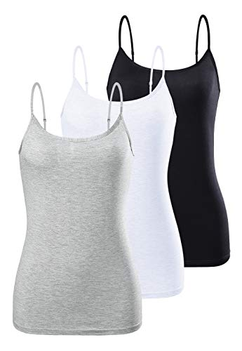 AMVELOP Adjustable Womens Camisole Spaghetti Strap Tank Top Camis Black White Gray M